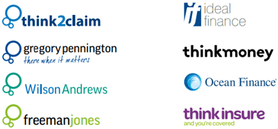 Logos for Think 2 Claim, Gregory Pennington, Wilson Andrews, Freeman Jones, Ideal Finance, Think Money, Ocean Finance and Think Insure.